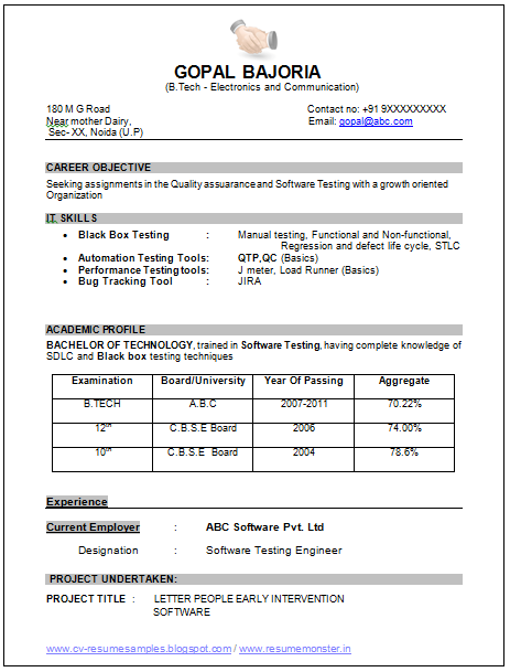 resume samples for ece students