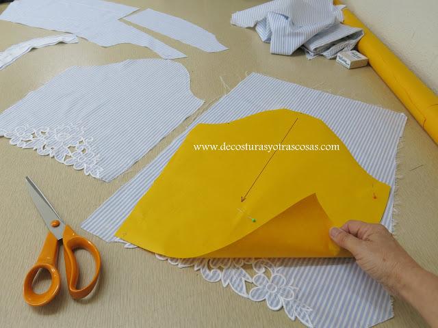 como cortar unas mangas con bordados