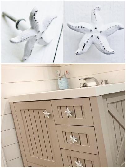 White Starfish Drawer Cabinet Knobs