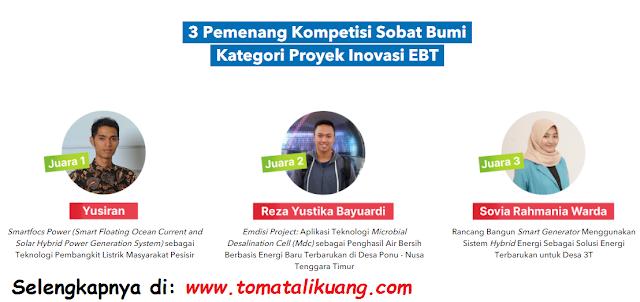 pemenang juara kompetisi sobat bumi kategori proyek inovasi ebt tahun 2020 tomatalikuang.com
