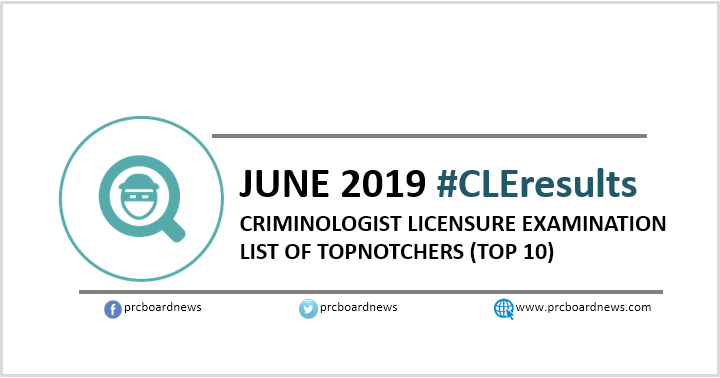 TOP 10 PASSERS: June 2019 Criminologist board exam CLE results