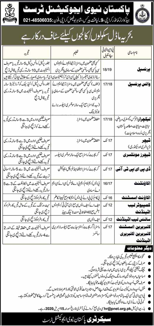 Pakistan Navy Educational Trust Karachi Jobs April 2020