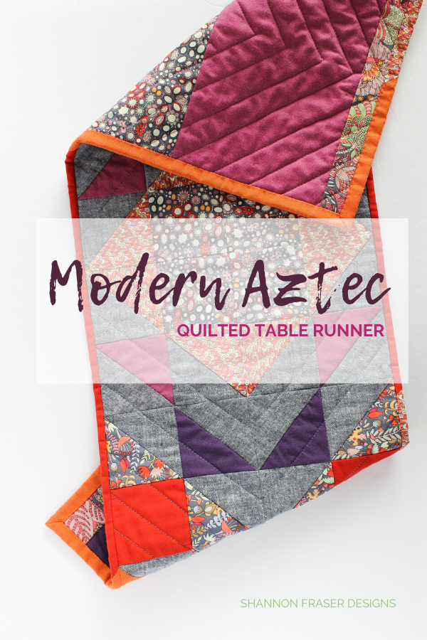 Fantasy Modern Aztec Quilted Table Runner | Shannon Fraser Designs #moderninteriors #diy #quilting #tablerunner #homedecor