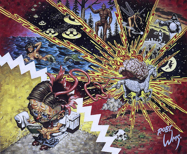 a Robert Williams painting about obsession with conspiracies and myths