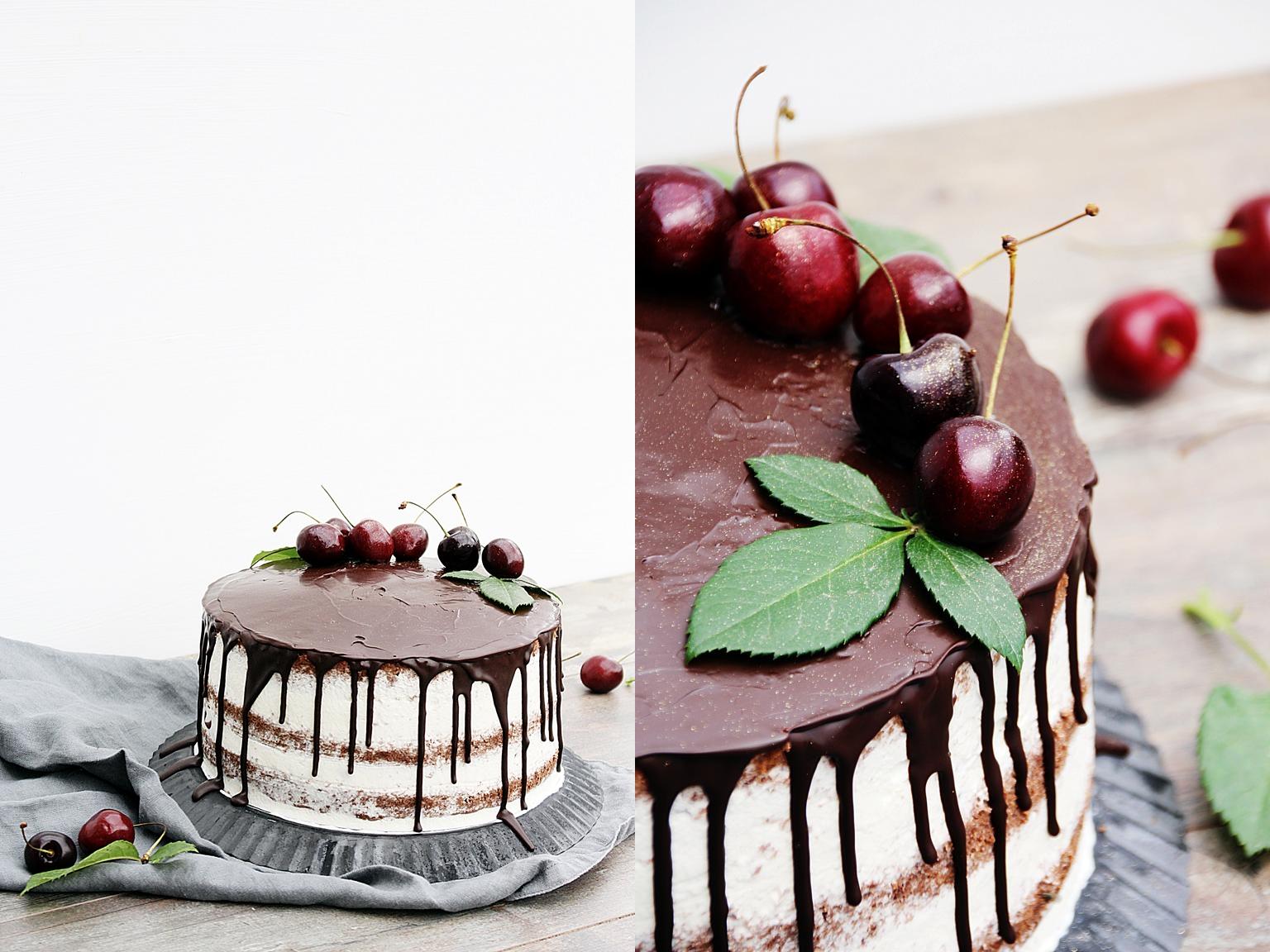 links die Torte, rechts Nahaufnahme der Deko