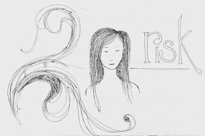 ink doodle of abstract swirls, a woman's head and shoulders, and the word 'risk'