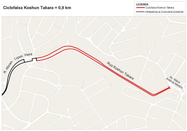 Mapa da Ciclovia da Rua Koshun Takara