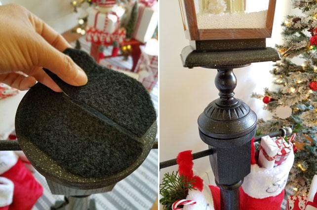 Christmas decor faux gas lamp - Stocking holder