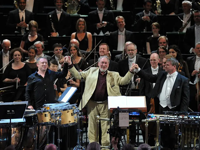 Colin Currie, HK Gruber, John Storgårds, BBC Philharmonic after premiere of Gruber's 'into the open ...' at BBC Proms 2015 (Photo BBC/Chris Christodoulou)