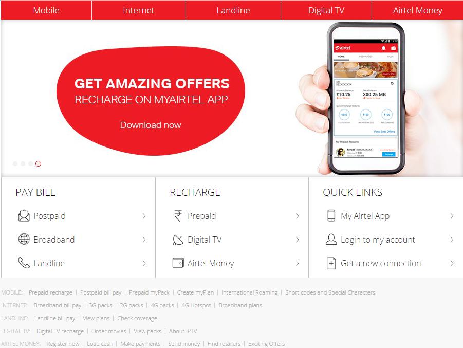 www airtel in - Airtel Prepaid / Postpaid Mobile, Broadband, Money