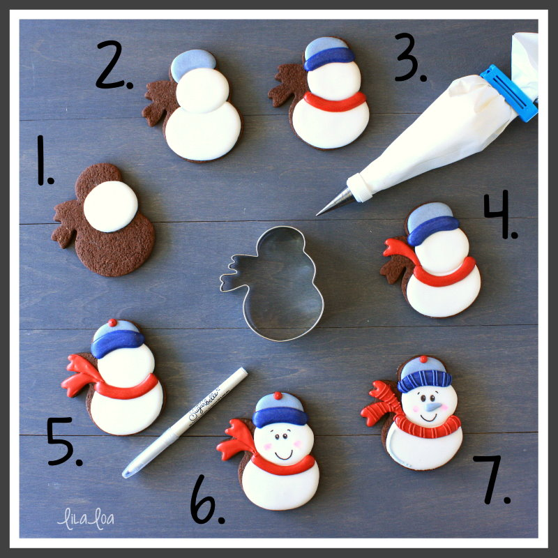 step by step snowman chocolate sugar cookie decorating tutorial
