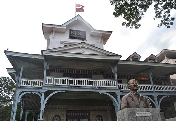 Silliman Hall and a bust of Dr. Horace Silliman