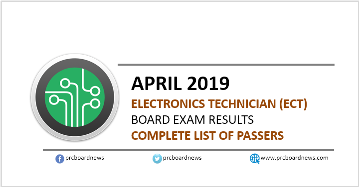 RESULT: April 2019 Electronics Technician ECT board exam list of passers