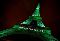 The Eiffel tower is illuminated in green with the words ''Paris Agreement is Done'', to celebrate the Paris U.N. COP21 Climate Change agreement in Paris, France, November 4, 2016. (Credit: Reuters/Jacky Naegelen/File Photo) Click to Enlarge.