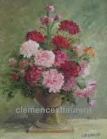 Bouquet d'oeillets roses et rouges dans un vase sur pied - tableau à l'huile 10 x 8 par Clémence St-Laurent