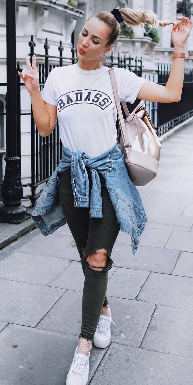 street style addict: t-shirt + shirt + rips +bag
