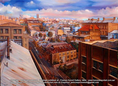 Plein air oil painting of  Pyrmont  from the roof of Pyrmont Power Stationby industrial heritage artist Jane Bennett