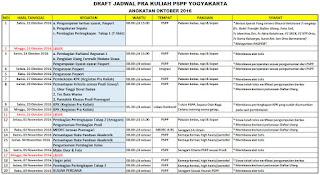 Jadwal Pra Kuliah PSPP Yogyakarta