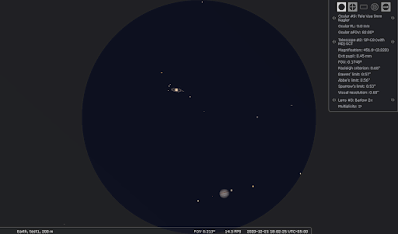 Saturn and Jupiter at high power in a telescope