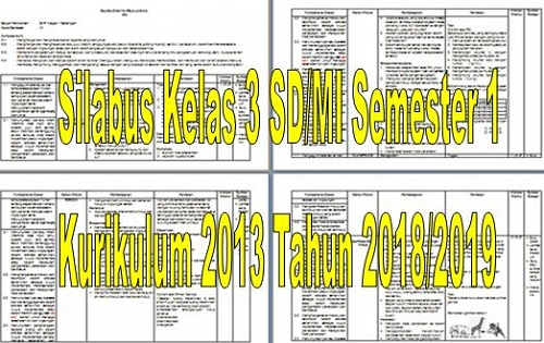 Silabus Kelas 3 SD/MI Semester 1 Kurikulum 2013 Tahun 2018/2019