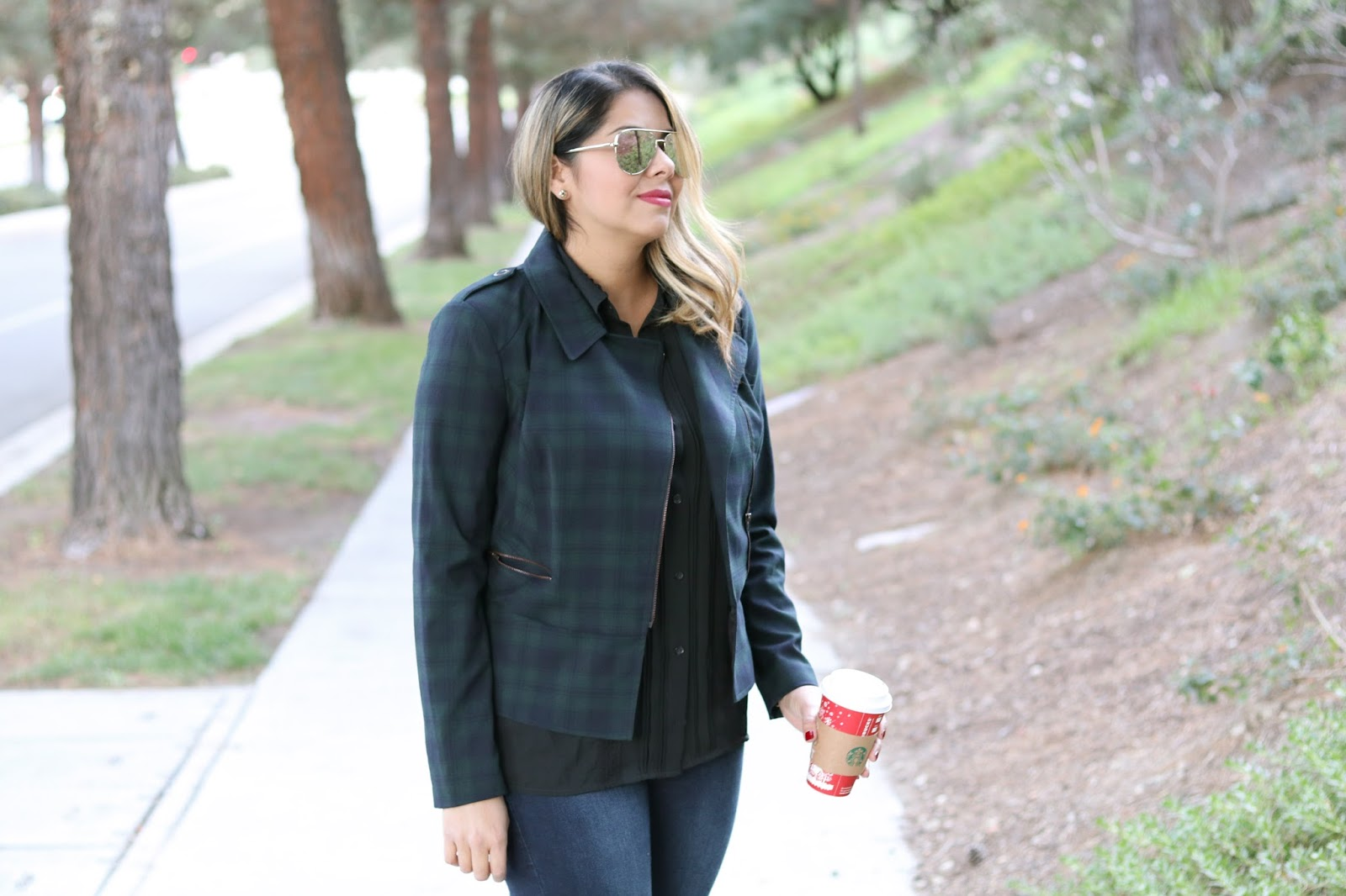 cabi tartan jacket, tartan jacket, plaid moto jacket, quay sunglasses