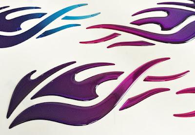 3Dファイヤーステッカー Cタイプ紫 雫屋