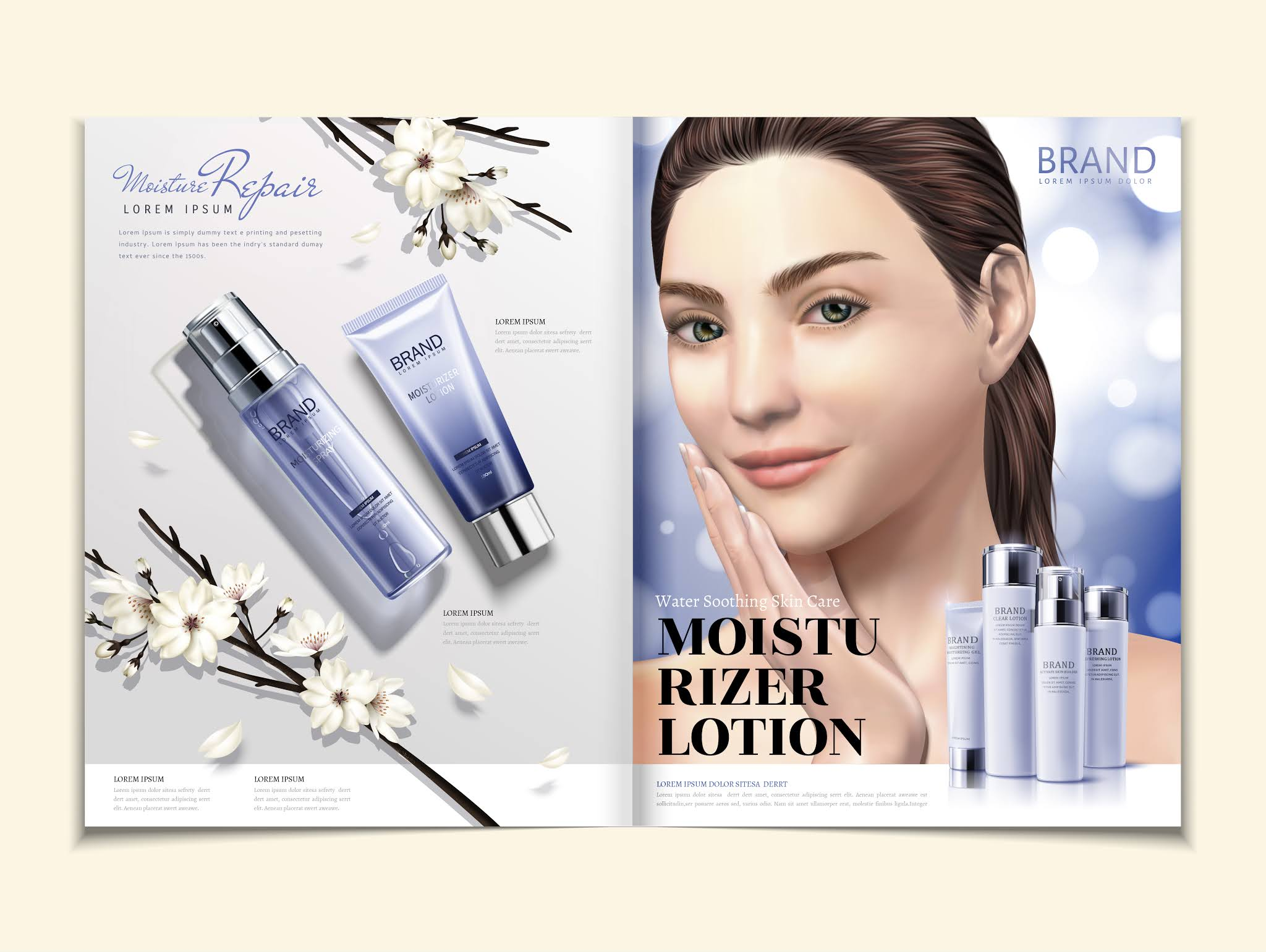Download the design of a magazine for beauty products in vector format, and you can also convert it into a Photoshop file