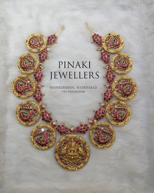 Peacock Lakshmi Necklace by Pinaki Jewellers