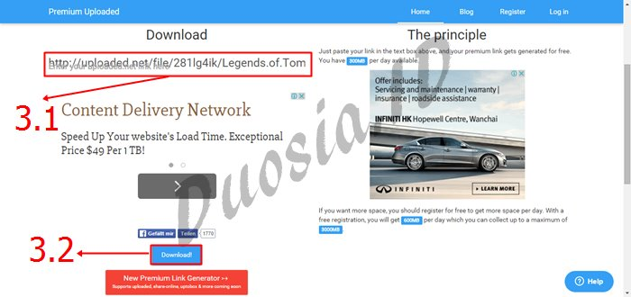 Cara Download di Uploaded Tanpa limit kecepatan Download menggunakan premium-uploaded.net Langkah ke 3