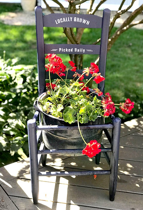 Beautiful stenciled outdoor chair planter