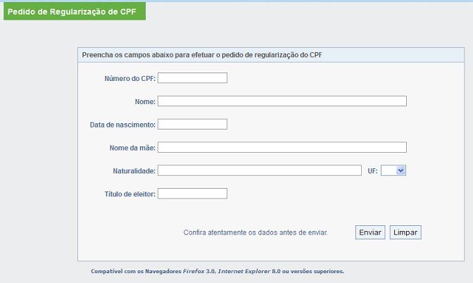 regularização grátis cpf