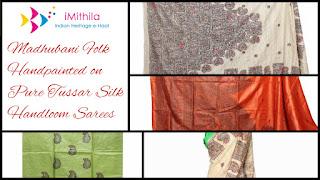 iMithila Madhubani Folk Art Handpainted Ethnic Sarees