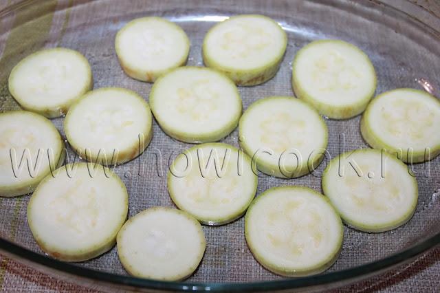 рецепт кабачков, запеченных с колбасой и сыром в духовке с пошаговыми фото