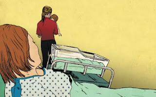 פקידת סעד חוטפת תינוק מיולדת , איור רות גוילי
