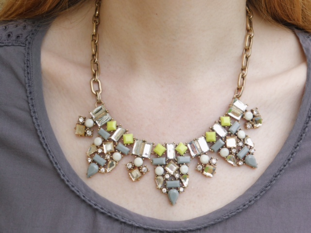 Yellow and grey stone statement necklace