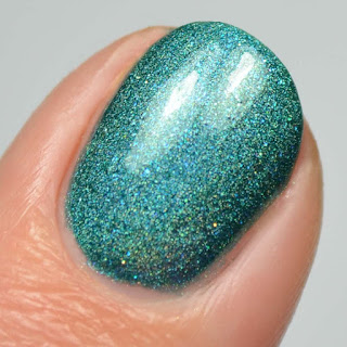 teal holographic nail polish
