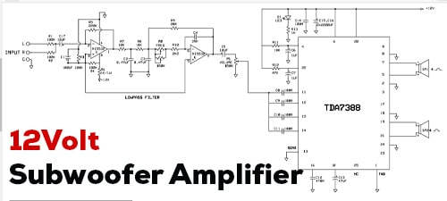 12V Power Amplifier Subwoofer using TDA7388 IC