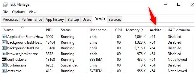 عمود الهندسة المعمارية في إدارة مهام Windows 10.