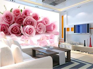 blommig tapet rosa rosor fototapet romantisk tapet sovrum