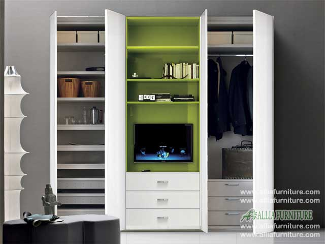 lemari minimalis baju unit tv model apollo