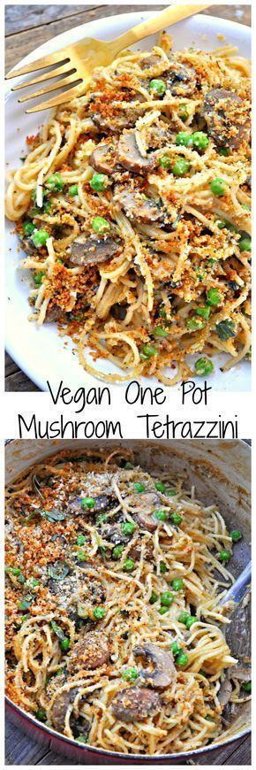 My vegan take on the classic Tetrazzini dish. Creamy noodles, mushrooms and peas. One pot then baked with bread crumbs on top!