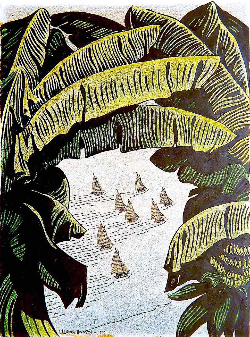 an Ellison Hoover illustration of a sailboat race amid palm trees