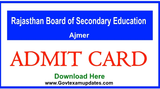 RBSE 10th, 12th Admit Card 2019