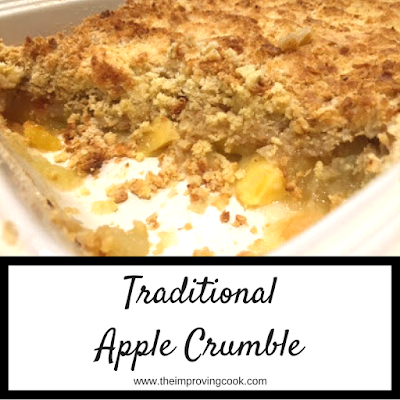 Close up of a dish of cooked apple crumble
