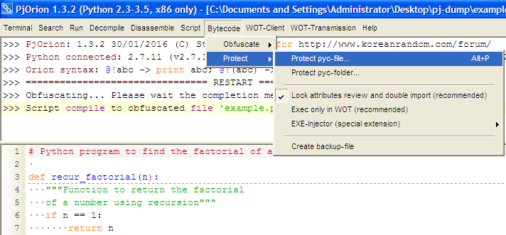 Figure 2: Protecting the generated pyc file