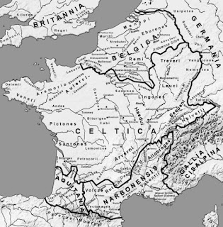 A map of Gaul at the end of the 1st century BC by Feitscherg
