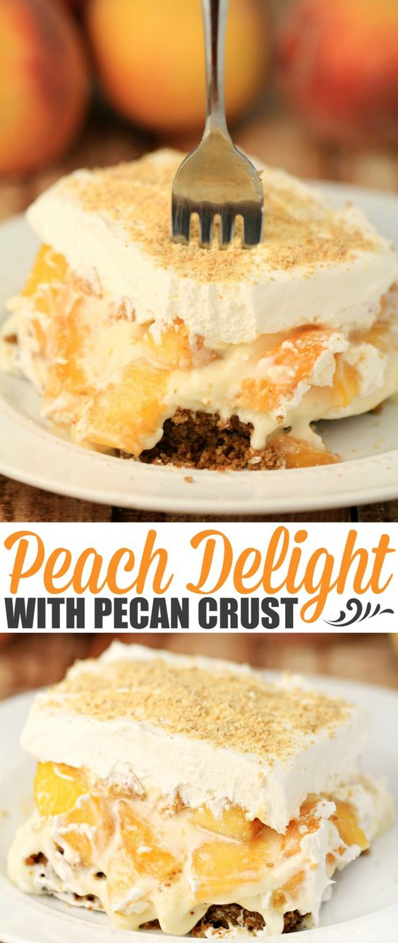 PEACH DELIGHT WITH PECAN CRUST #peach #delight #pecan #crust #cake #cakerecipes #dessert #dessertrecipes #easydessertrecipes