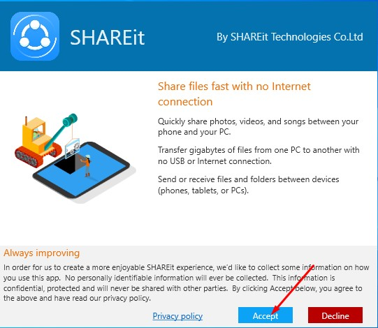 How to Installation of SHAREit for Windows