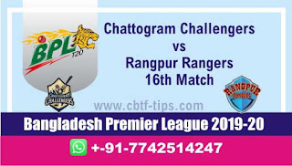 Who will win Today BPL T20, 16th Match Rangpur vs Chattogram - Cricfrog