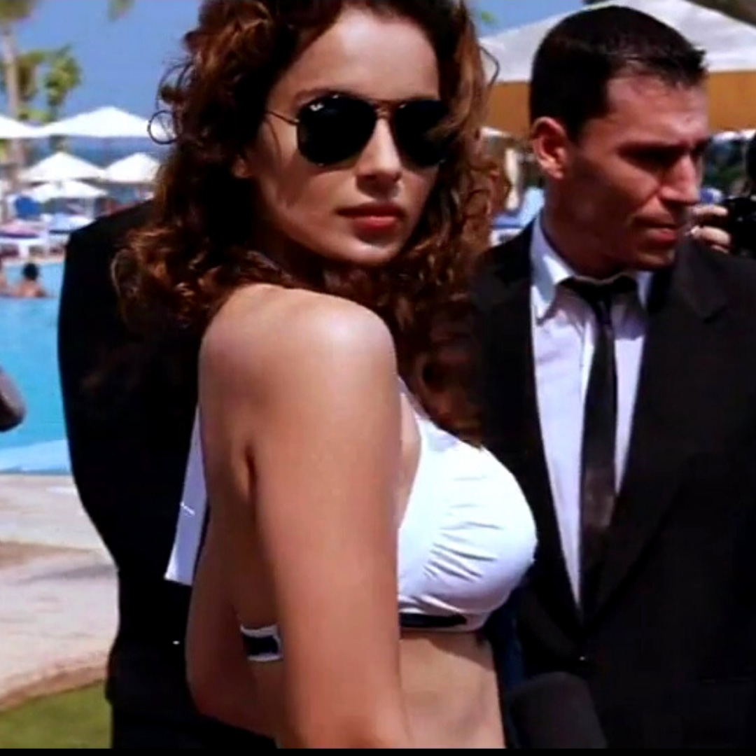 Kangana Ranaut in white bikini side pose